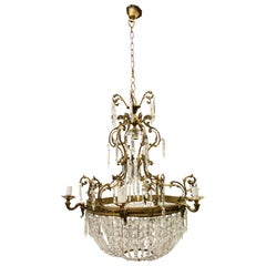 Rococo Style Gilded Brass and Glass Chandelier, circa 1900