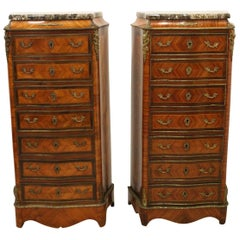 Matched Pair of French Ormolu Mount Secretaire Chests, circa 1880