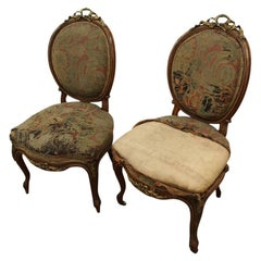 Pair of French Victorian Ormolu Mount Walnut Side Chairs, circa 1860