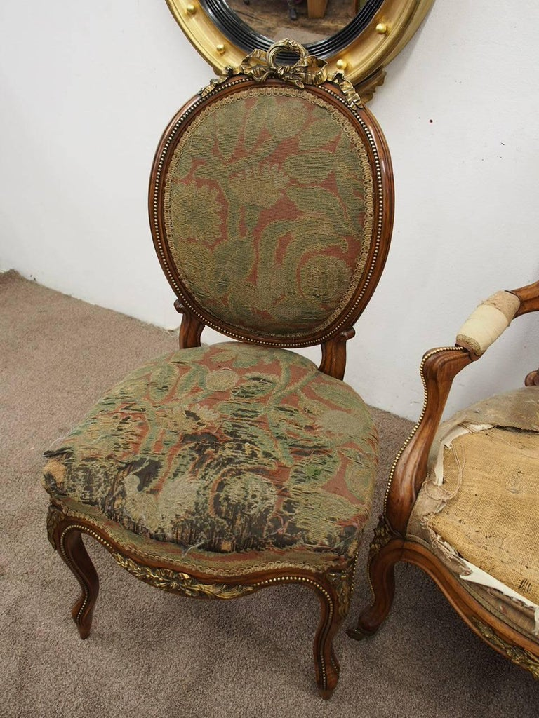 Pair of French Victorian Ormolu Mount Walnut Side Chairs, circa 1860 In Good Condition For Sale In Edinburgh, GB