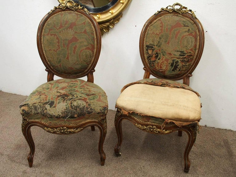 Pair of French Victorian Ormolu Mount Walnut Side Chairs, circa 1860 For Sale 2