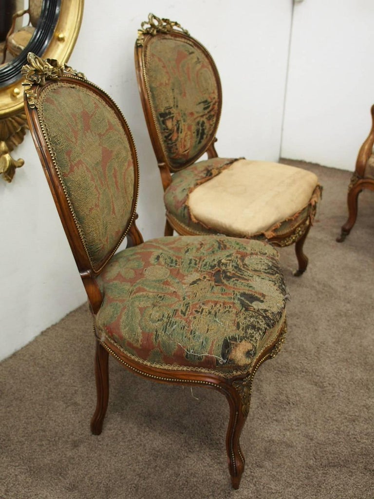 Pair of French Victorian Ormolu Mount Walnut Side Chairs, circa 1860 For Sale 3