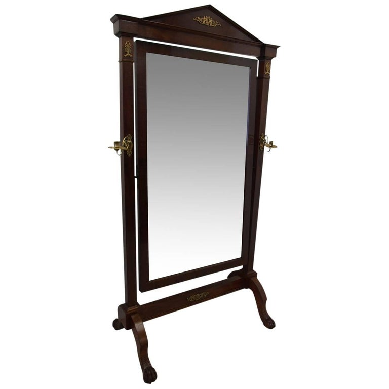 French Mahogany Cheval Mirror, circa 1840