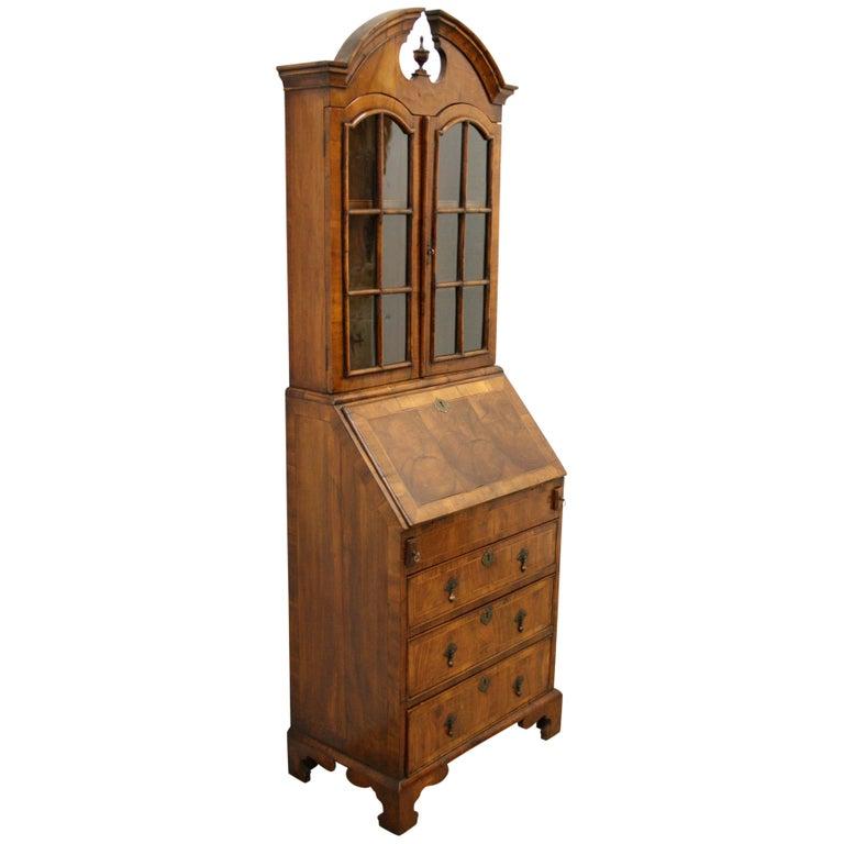 George I Style Yew and Walnut Bureau Bookcase, circa 1890