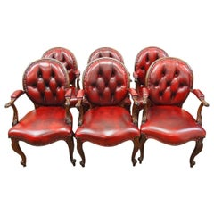 Set of Six Carved Rosewood and Burgundy Leather Armchairs, circa 1860