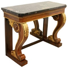 Marble-Top Rosewood and Gilded Console Table