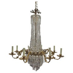 French Crystal and Gilded Brass Chandelier, circa 1880