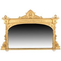 Victorian Carved Gesso Wood Overmantel Mirror, circa 1860
