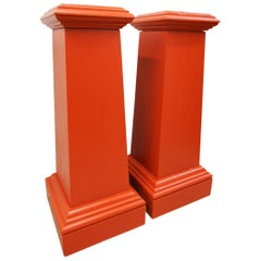Pair of Red Painted Pine Pedestals, circa 1870