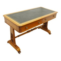 Pine and Green Leather Library Table, circa 1860