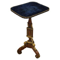 Victorian Kingwood and Blue Velvet Occasional Table