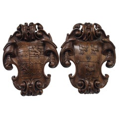 Victorian Carved Shield Plaques, circa 1860