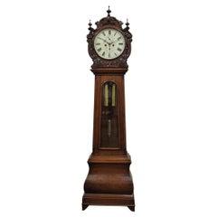Carved Drum Head Grandfather Clock by J W Mitchell, Glasgow