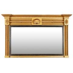 George IV Gilded and Ebonised Overmantel Mirror