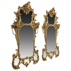 Pair of High Rococo Style Gilded Mirrors, circa 1860