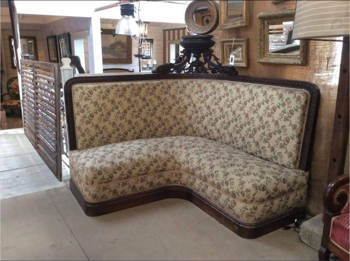 Empire French Couple Of Corner Sofas With Walnut Wood Frame And Medal From  1890s For Sale