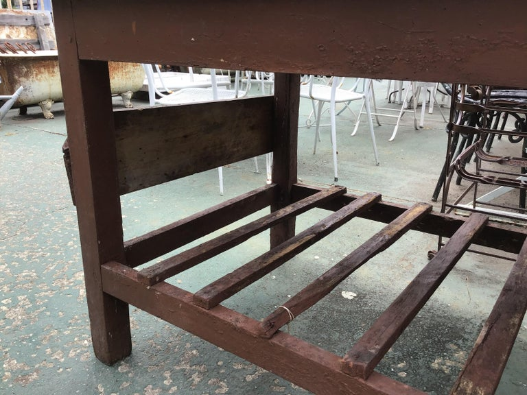 Italian Butcher Counter with Zinc Top and Wood Base from 1950s For Sale 5