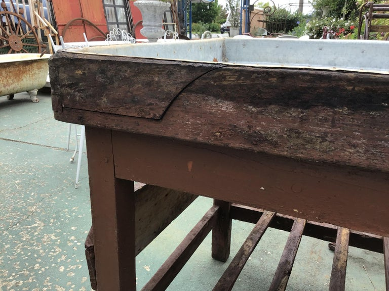 Italian Butcher Counter with Zinc Top and Wood Base from 1950s For Sale 6