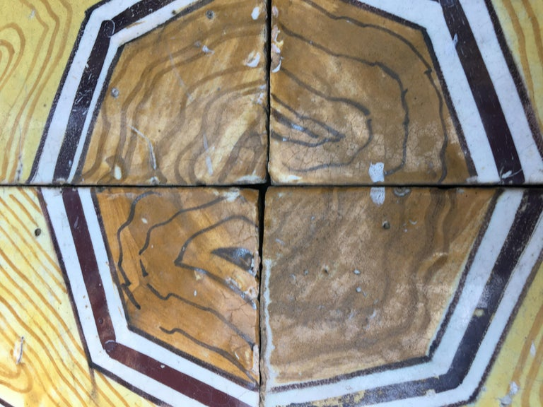 Mid-Century Modern Italian Vintage Reclaimed Decorated Tiles from Early 20th Century For Sale