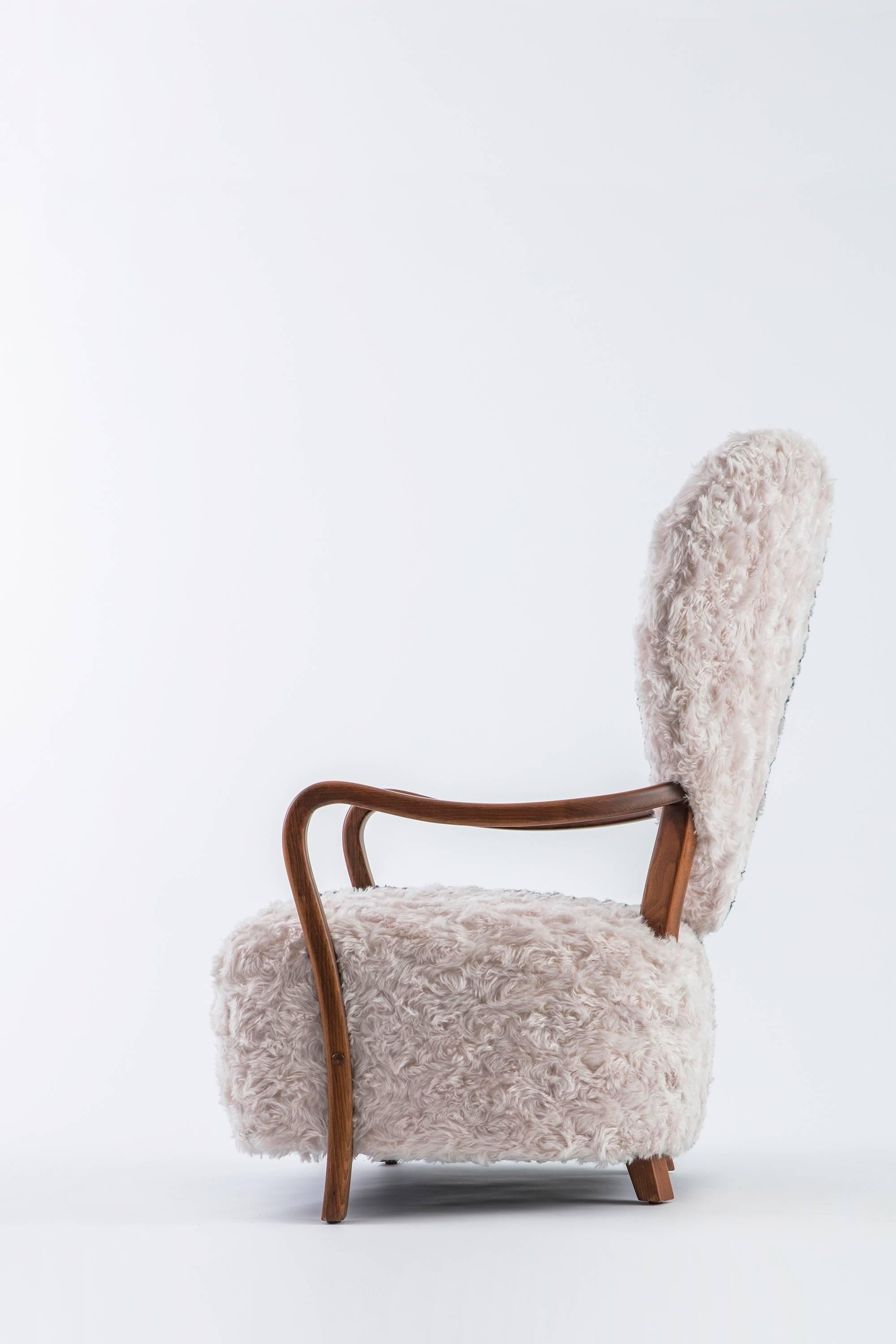 Arts And Crafts Contemporary Beechwood Uni Armchair With Heart Shaped Back  And Mohair Upholstery For Sale