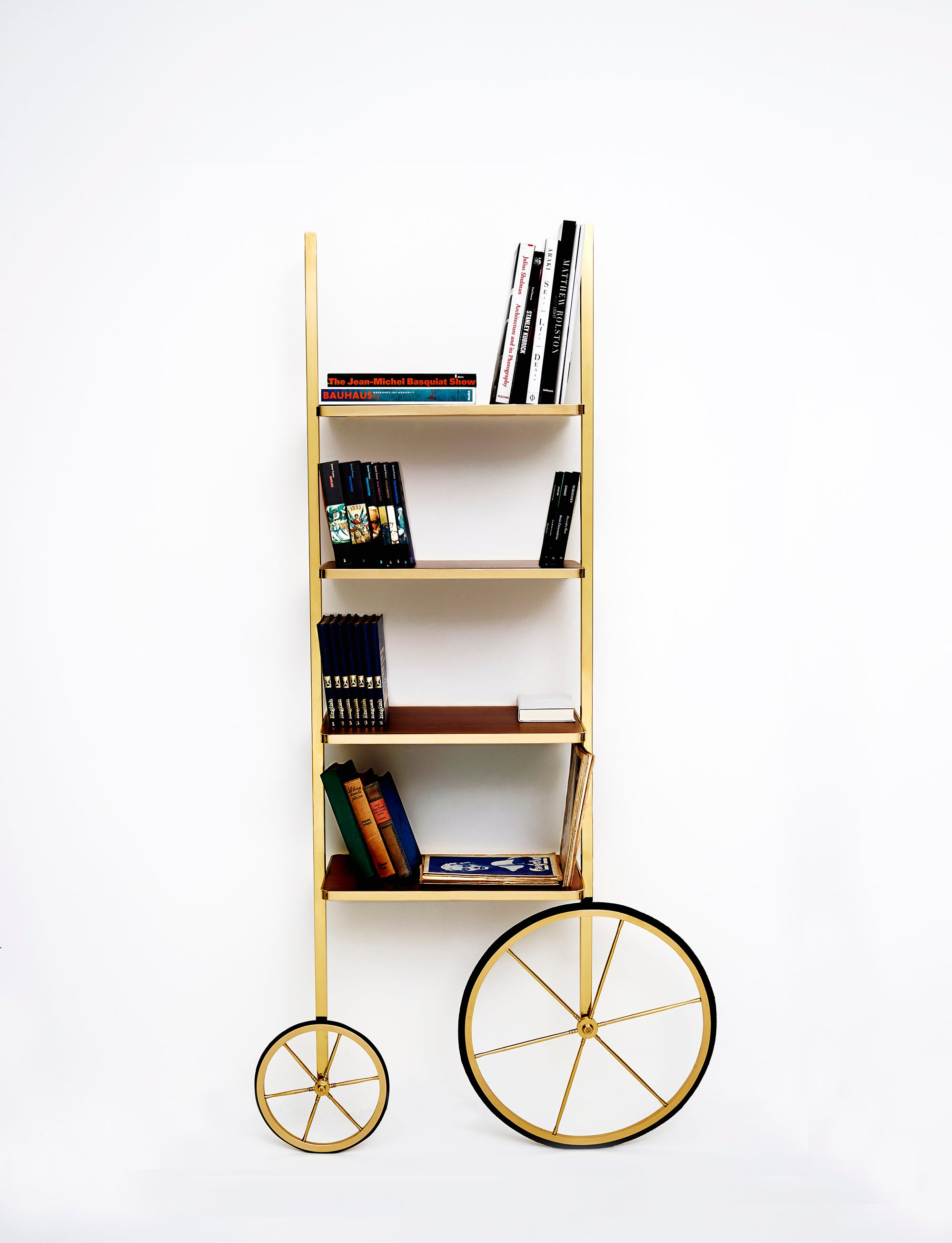 Portable Polished Brass And Mahogany Cyclopedia Bookshelf With Wheels For Sale At 1stdibs