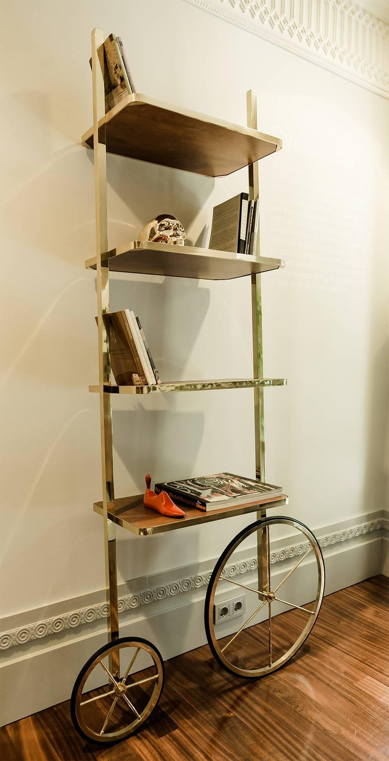 Portable Polished Brass And Mahogany Cyclopedia Bookshelf With Wheels For Sale 2