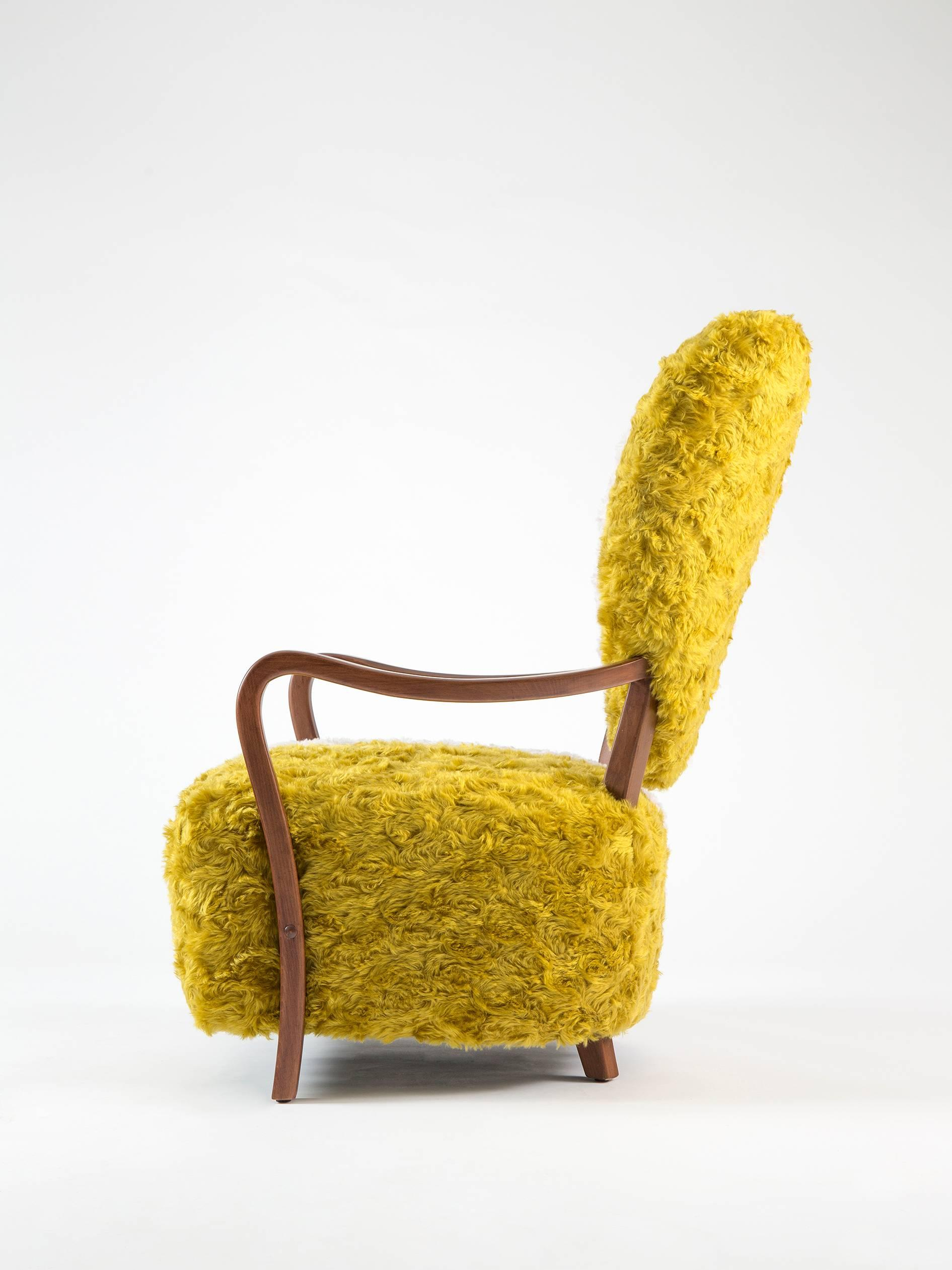 Arts And Crafts Contemporary Uni Armchair With Heart Shaped Back And Yellow  And White Mohair For