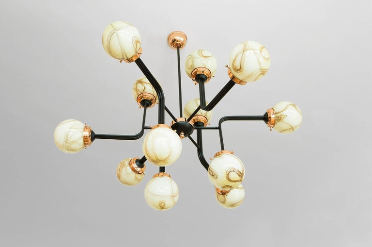 Hand-Crafted 21st Century Ziron Handblown Glass Chandelier with Black Painted Metal Copper For Sale
