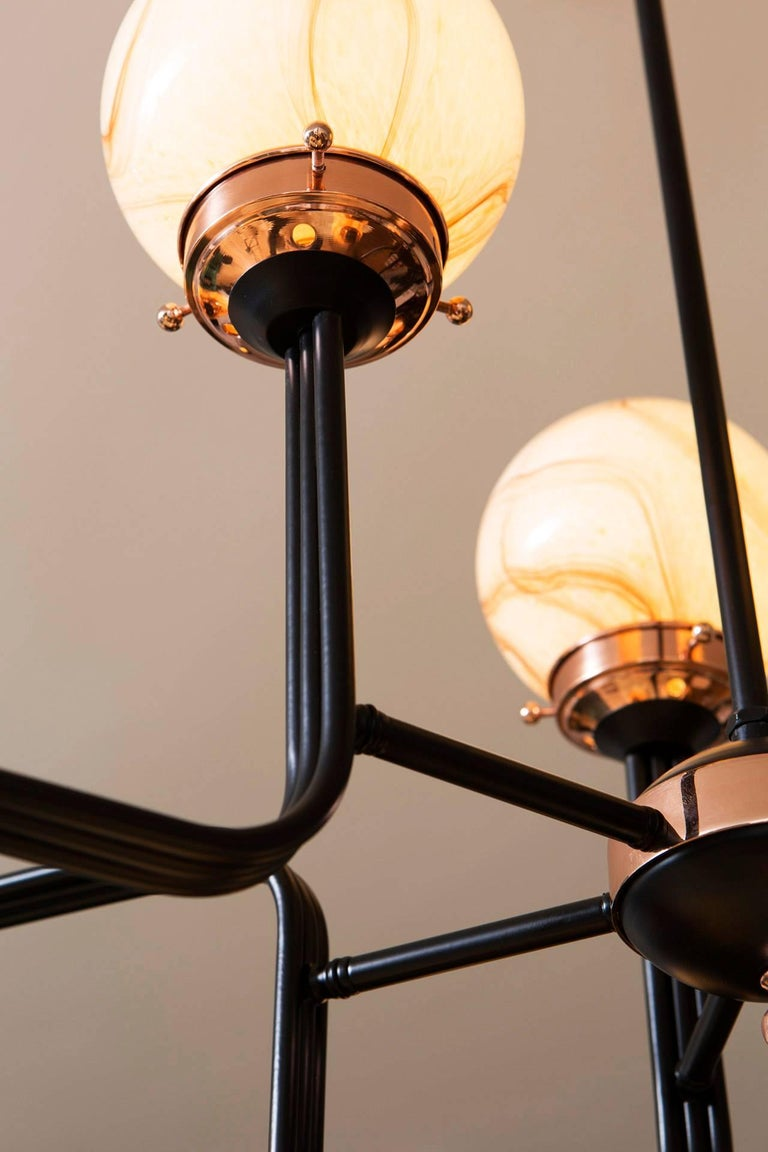 21st Century Ziron Handblown Glass Chandelier with Black Painted Metal Copper For Sale 2