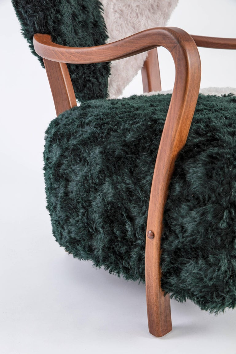 Hand-Crafted Contemporary Beechwood Uni Armchair with Green and Cream Mohair Upholstery For Sale