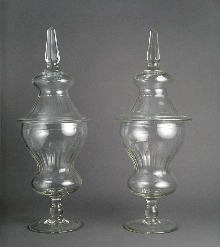Pair Of 19th Century Bohemian Transparent Crystal Vases With Cover