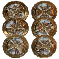 Early 19th Century Set of Six Meissen Gold-Plated and Porcelain Dishes