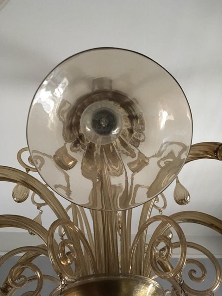 20th Century Murano Blown Glass Chandelier Light Gold Color Eight Lights Neoclassic, 1960s For Sale