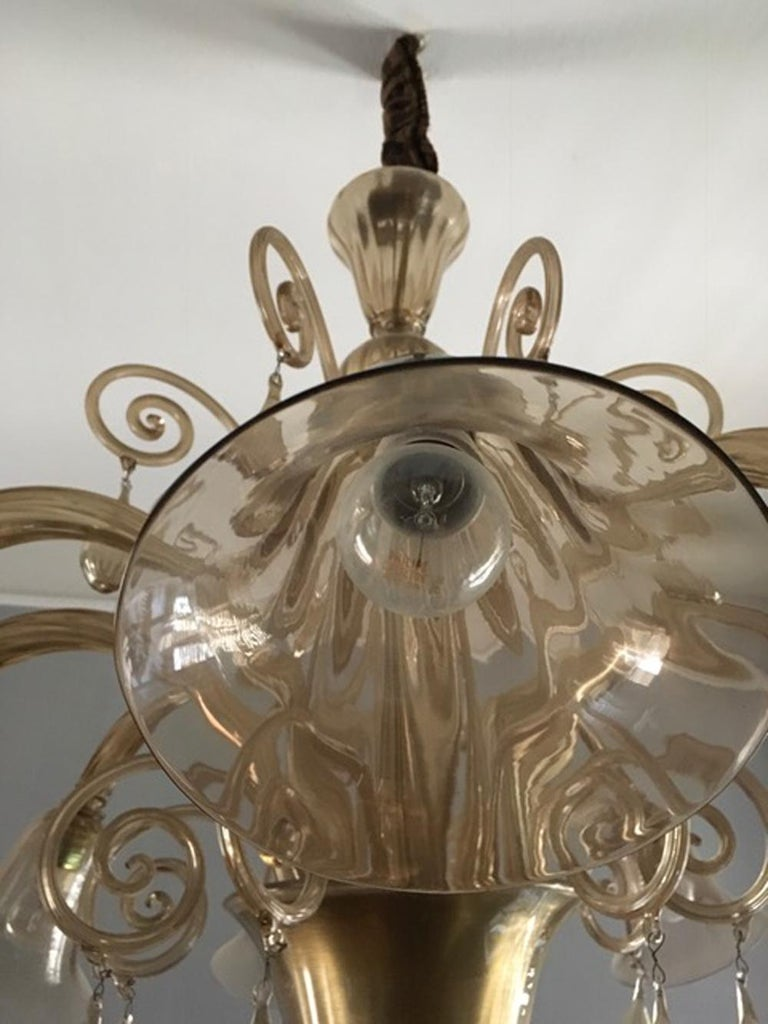 Murano Blown Glass Chandelier Light Gold Color Eight Lights Neoclassic, 1960s For Sale 6