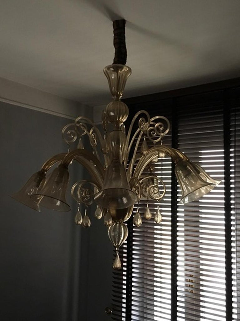 This blown Murano glass chandelier has 8 arms, 8 lights and more 8 little decorative arms. The bulbholder has a delicate flower form and the color is an elegant light gold. For these reasons it has a timeless beauty and a contemporary presence.