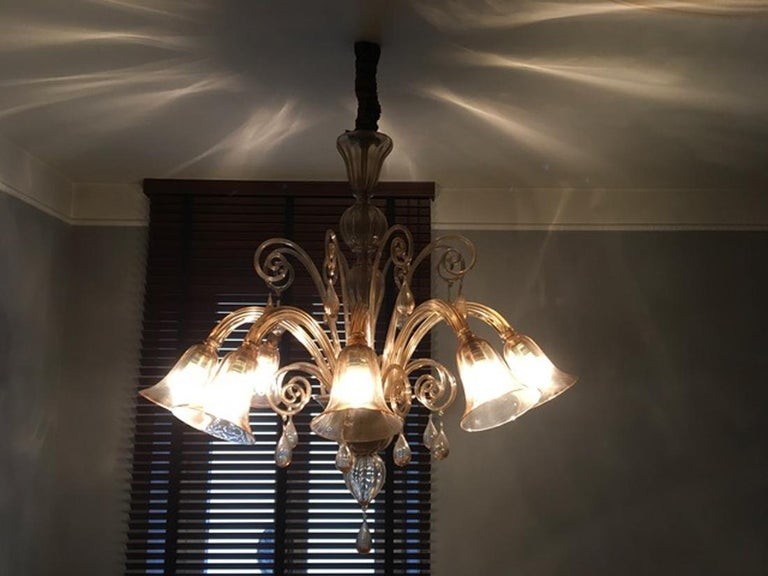 Murano Blown Glass Chandelier Light Gold Color Eight Lights Neoclassic, 1960s For Sale 12