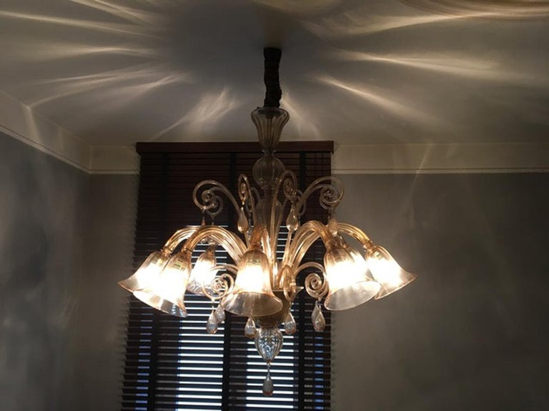 Murano Blown Glass Chandelier Light Gold Color Eight Lights Neoclassic, 1960s For Sale 13