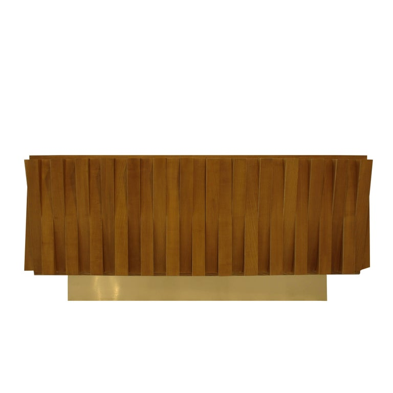 L.A. Studio Faceted Sideboard Made In Solid Oak Wood, Italy