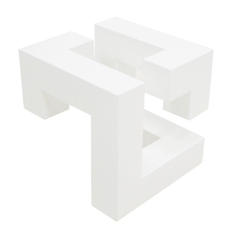 L.A. Studio Metal sculpture with white lacquered cubic shape designed by Josecho López Llorens.