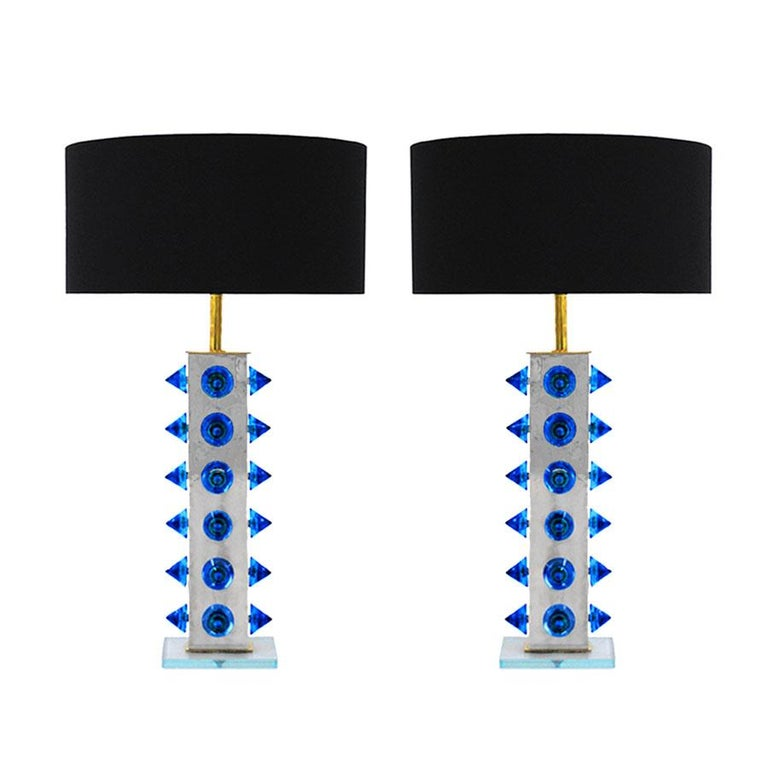 L.A. Studio Pair of Table Lamps with Colored Murano Glass