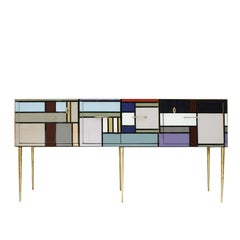 L.A. Studio Sideboard with Four Doors Made in Colored Glass. Italy