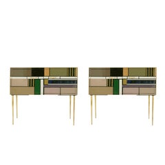 Pair of L.A Studio Sideboards With Two Doors Made in Colored Glass, Italy