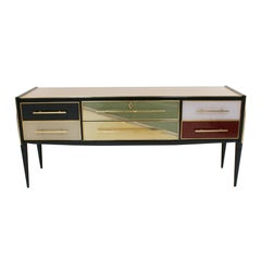 L.A. Studio Sideboard with Six Drawers Made in Colored Glass. Italy