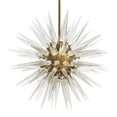 Sputnik Murano Glass and Brass Chandelier, Italy