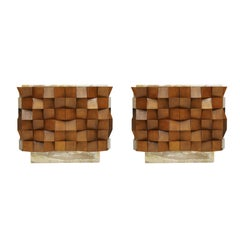 L.a. Studio Pair of Birch Wood and Siena Marble Sideboards. Italy