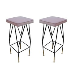 Pair of Pink Cotton Velvet Upholstery Stools