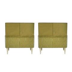 Italian Pair of Golden Glass Sideboard