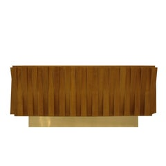 L.A. Studio Faceted Oak Wood and Brass Italian Sideboard