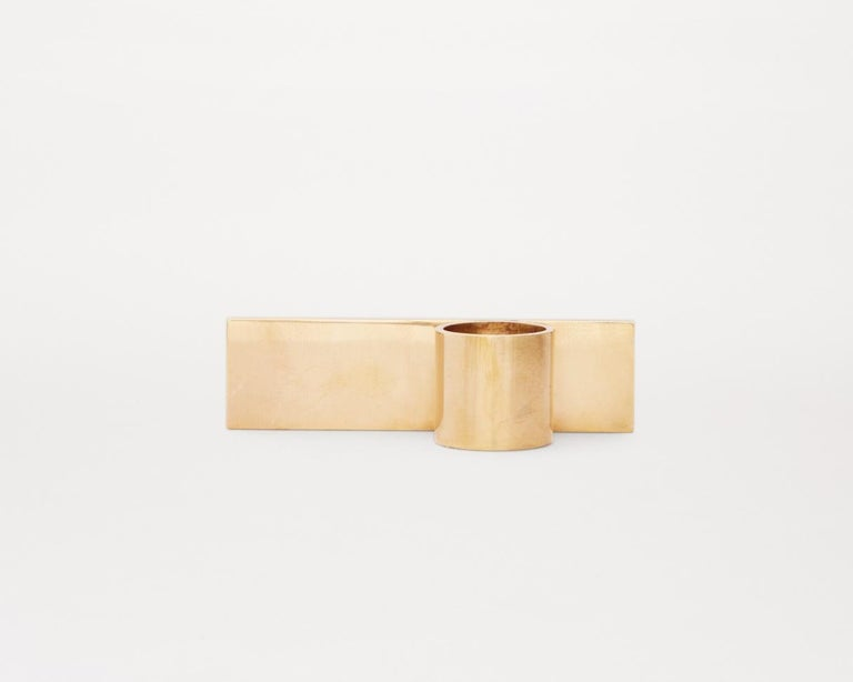 Contemporary Fundament Candleholder Set in Brass In Excellent Condition For Sale In Copenhagen, DK