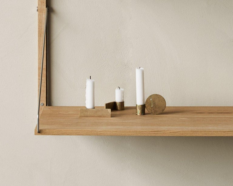 Contemporary Fundament Candleholder Set in Brass For Sale 1